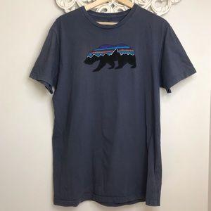 Patagonia Fitz Roy Bear Blue TShirt Men's Slim Fit